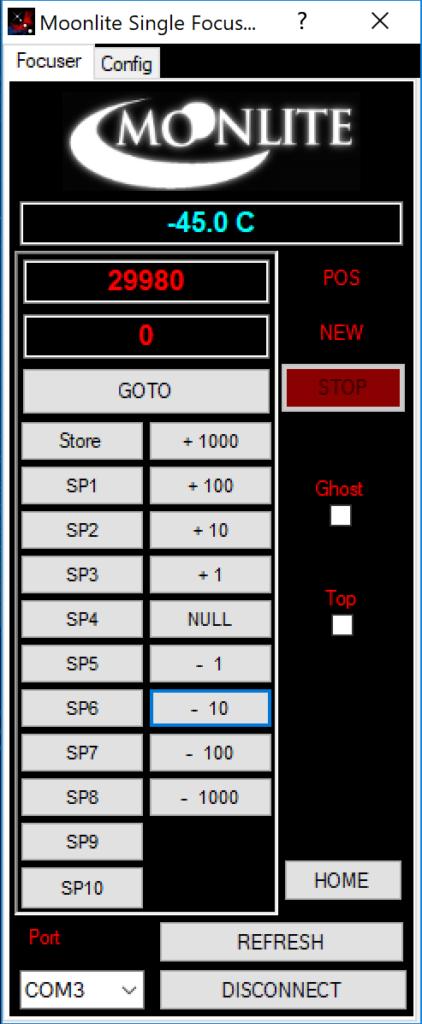 Il software Moonlite per controllare il focheggiatore senza driver ASCOM